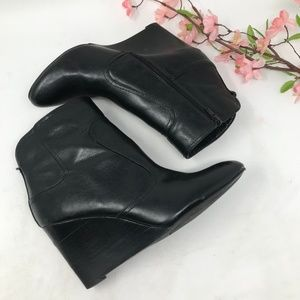 """Nine West Black """"Leather"""" Wedge Ankle Boots sz 8.5"""